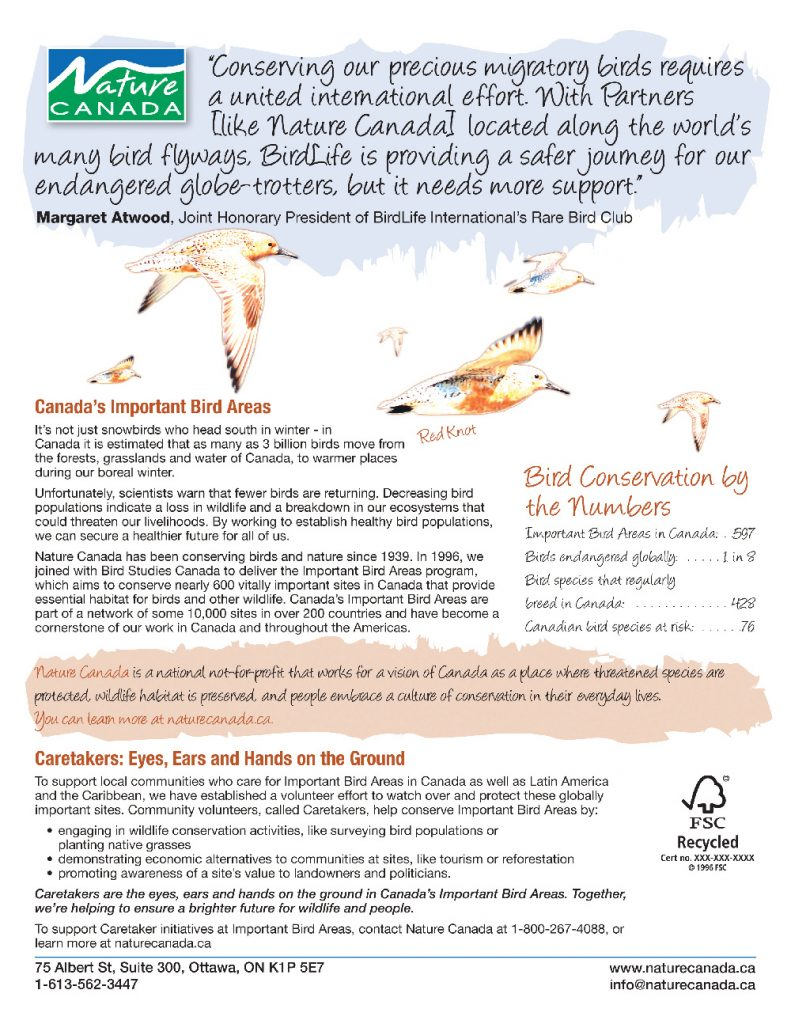 Nature Canada Ottawa Sheet